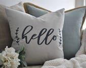 Hello Farmhouse Pillow Cover | Hello Script Pillow Cover | Farmhouse Throw Pillow | Modern Farmhouse Decor