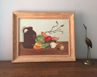 Still Life Oil Painting Framed Vintage Oil Painting Original Large Rustic Decor Farm Painting Art Ranch Cabin Signed