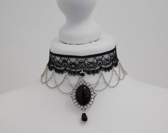 Gothic Black Statement Chain Cameo Lace Choker Necklace