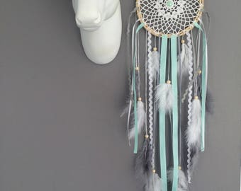 DreamCatcher in shades of mint, grey and white lace