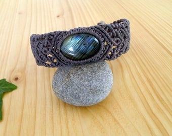 Labradorite macrame bracelet, macrame jewelry, hippie bracelet, macrame armlet, labradorite jewelry, macrame stone, gemstone bracelet