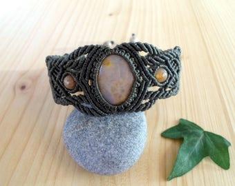 Jasper macrame bracelet, macrame jewelry, tribal bracelet, macrame stone, gemstone bracelet, jasper jewelry, gypsy bracelet, healing jewelry