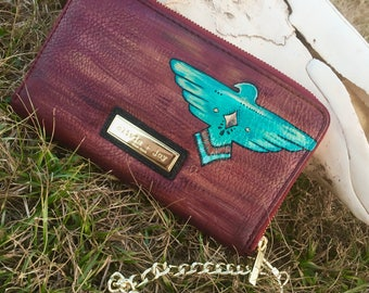 Custom Painted Southwestern Thunderbird Wallet Clutch