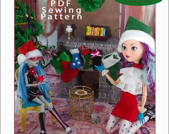 """Santa Hat and Christmas Stocking Pattern for Fashion Dolls like Pullip, Blythe, 17"""" and Regular-sized Monster High - Instant PDF Download"""