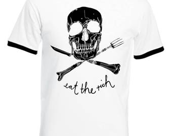 Eat the Rich, Men's, Ringer T-Shirt, Tee, Retro, The Ramones, Punk, Rock, Punk Rock, 70's, Music, Skull & Bones, Gifts, Christmas, NEW