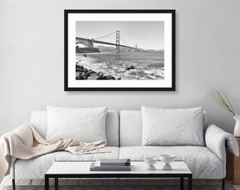 San Francisco Black and White Print, Golden Gate Bridge, San Francisco Photography, California, Landscape Photo, Fine Art Print, Wall Art