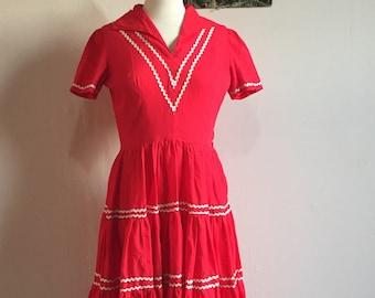 Vintage Wanda Patio Dress | 1950s Red Square Dance Dress | Western Wear Size M