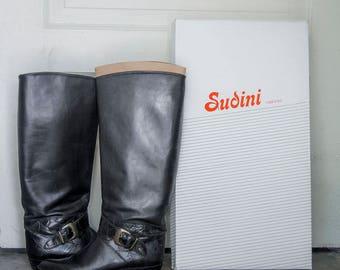 Vintage Sudini Black Leather Riding Boots w/ Original Box  Size 8.5