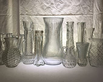 WEDDING | Lot of 25 Clear Glass Vases + One Bouquet Vase | Assorted Sizes and Styles