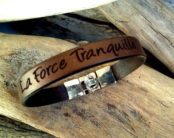 Leather bracelet for Man, engraved, brown, Force Tranquille (Quiet Force), Boho jewelry, By Dodie