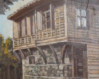 Vintage art oil painting old house landscape