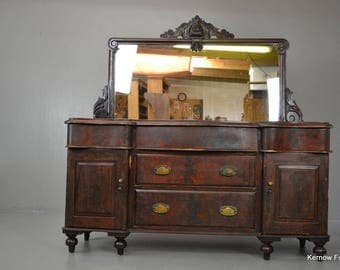 Well Worn Rustic Mahogany Mirror Back Sideboard