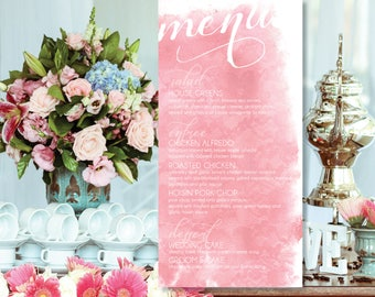 "Watercolor ""Lace Pattern"" Wedding, Rehearsal, or Bridal Shower Menu Customizable Printable"