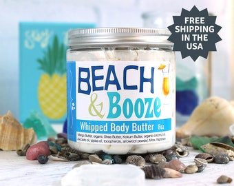 Tropical Whipped Body Butter, Coconut Whipped Shea Butter, Pina Colada Body Lotion, Spring Break gifts for friends, Beach Vacation gift