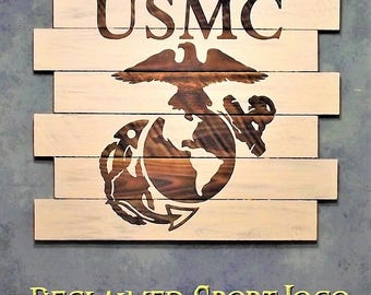 USA Marines ~ WhiteWash ~ , Burnt wall hanging, 30X23, Shou Sugi Ban, Sports sign, Man cave, Rustic, Pallets, Wood Sports sign