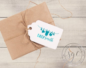 Clothesline Baby Shower   Customizable Letterpress Foil Gift Tags   social graces and co.