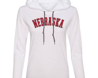 Women's Nebraska Legacy Script Huskers Long Sleeve Hooded Tee Shirt Hoody With Relaxed Unlined Hood With Contrasting Drawcord