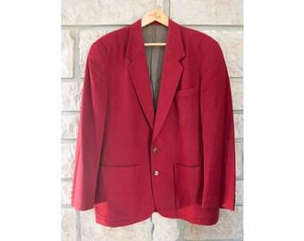 Vintage wool red coat men - Winter warm New Man overcoat - Oversized dress coat - Classic long top coat - Coat peg size XXL