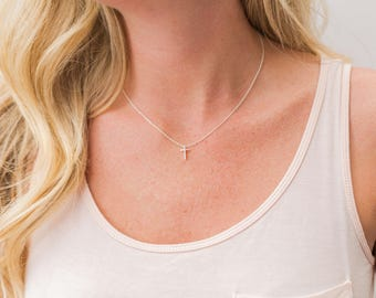 Tiny Silver Cross Necklace - Silver Layering Necklace - Sterling Silver - Gift for Her