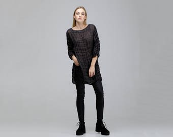 Linen Tunic For Women / Crumpled Linen Tunic / Loose Black Linen Tunic / Casual Women Linen Top / Wide Crinkled Tunic / Loose Linen Top