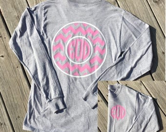Monogrammed Chevron Circle Long Sleeve Shirt, Personalized Shirt, Monogrammed Shirt, Monogram Style Shirt, Monogrammed Clothing