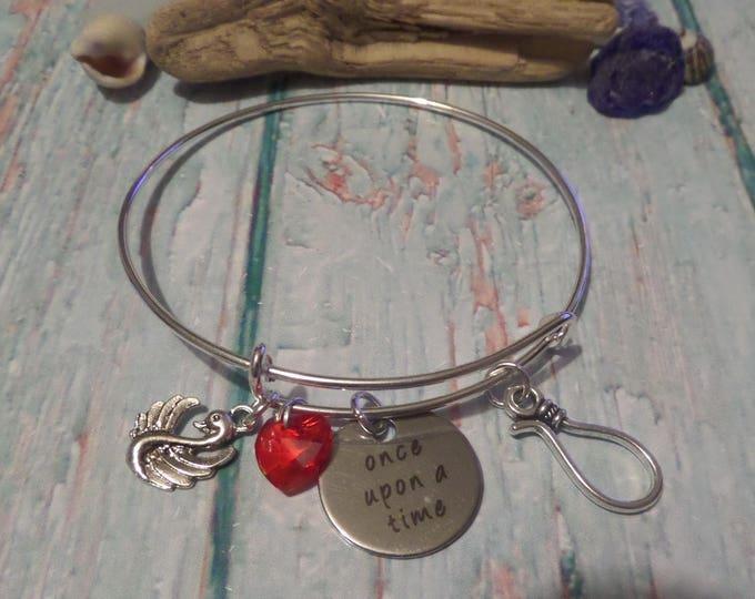 once time bangle, once upon a time, ouat bracelet, ouat charm bracelet, emma hook gift, emma swan bracelet, hook bangle, sandykissesuk