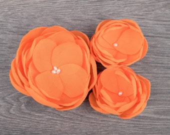 Orange Hair Flowers - Orange Wedding - Flower Girl Clips - Orange Flower Girl - Orange Accessory - Orange Bridesmaids - Hair Flower Clips