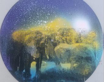 Elephants Halftone Screenprint On multicolor Spray Paint Vinyl Record