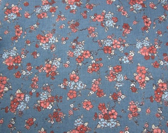 Beautiful 16x16 Blue Corduroy Fabric Peach Flowers~ Make Quilt Blocks, Pillow