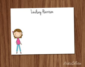 Pregnant Stick Figure Flat Note Cards Notecards - Personalized Stationery Stationary Baby Shower Thank You Notes