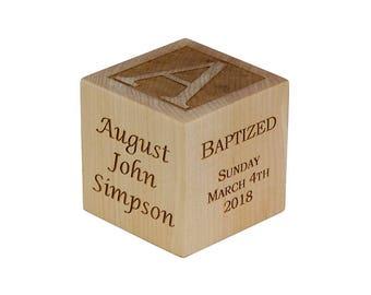 Personalized Baptism Gift, Baby Baptism Block, Baby Baptism Gift, Baby Dedication Gift, Wooden Engraved Baby Block, Unique Baptism Gift