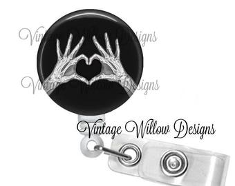 Heart Shaped Hands Xray Retractable ID Badge Reel