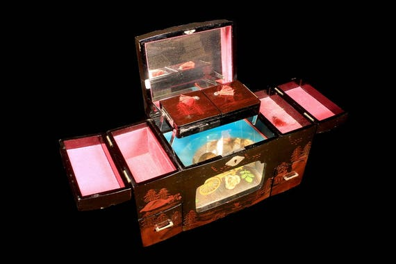 Lacquered Wood Jewelry Box, Music Box, Moving Diorama, Lined Compartments, Key Included, Hand Painted
