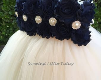 Navy Blue and Ivory Flower Girl Tutu Dress/ Navy Blue Flower Girl Dress/ Blue Flower Girl Dress/ Flower Girl Dress