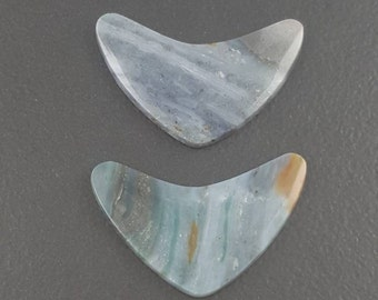 Ocean Wave Jasper Cabochon, 34x20mm, blue gray cab, boomerang shape, large size stone, cab, cabochon, jasper, pendant stone, ring size