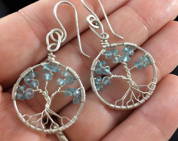 Personalized Aquamarine Jewelry March Birthstone Aquamarine Necklace Personalized Jewelry Birthstone Earrings Apatite Silver Tree of Life