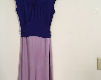 Vintage 1930s Two Tone Rayon Dress - Lilac and Royal Blue Tie Back Dress - Rayon Day Dress