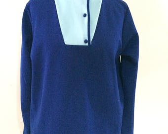 Vintage blouse 70s by Holstar long sleeve blue navy with mandarin collar size small