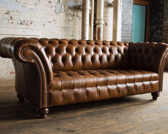 Vintage Tan Leather Chesterfield 3 Seater Sofa. Crackle Antique Leather.  British Handmade. Top