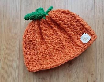 Pumpkin Hat, Newborn Baby, 0-3 months, Halloween, Autumn, Fall Hat, Thanksgiving, Photo Prop, Crocheted Hat, Crochet Beanie