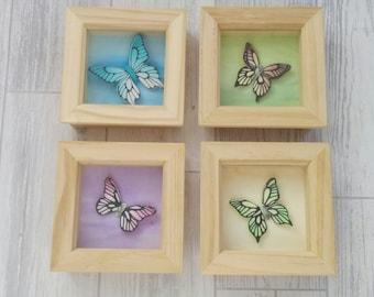 Pastel Butterflies, Butterfly wall art, butterfly sculpture, 3D butterflies, butterfly decor, butterfly picture, framed butterfly, new home