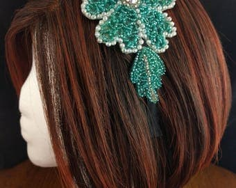 Headband hairband made with vintage green floral beaded applique - art deco