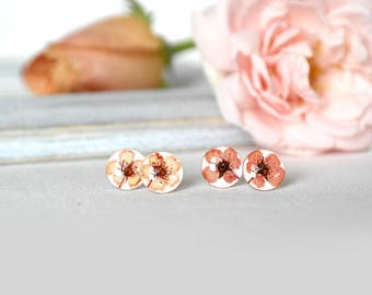Pink studs Peach post earrings Flower earrings for girls valentines day gift for her Pastel earrings Silver gift for children gift earrings