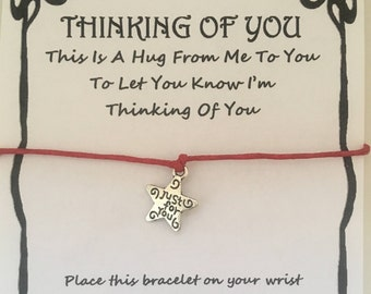 Thinking of you, hug, Best friend, friend, sister, card, wish bracelet, charm, bracelet, gift, various charms and colours