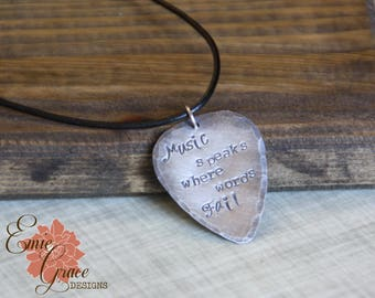 Guitar Pick Sterling Silver Necklace, Leather Cord