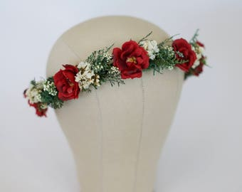 Red Flower Crown, Christmas Head Wreath, Holiday Headpiece, Ready to Ship