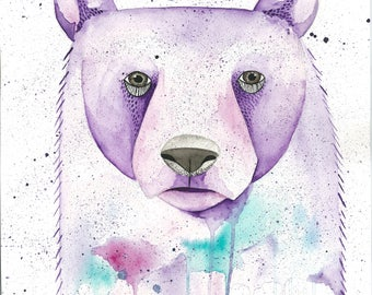 Grizzly bear print-woodland animals-attack collective-ATK collective -watercolour -bear art