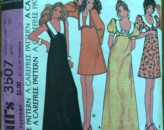McCalls 3507 - 1970s Above Knee or Maxi Length Dress with Raised Waist and Contast Collar - Size 14 Bust 36