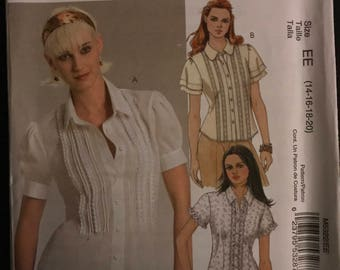 McCalls M5322 - Easy to Sew Button Front Blouse with Tucks and Lace Trim Options - Size 14 16 18 20