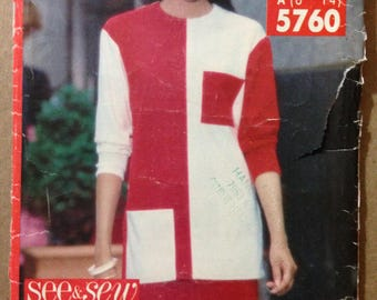 See & Sew Very Easy Tunic with Contrast Fabrics and Pull On Tapered Skirt Size 6 8 10 12 14